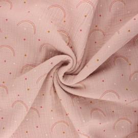 Tissu double gaze de coton Arco iris - eau de rose x 10cm