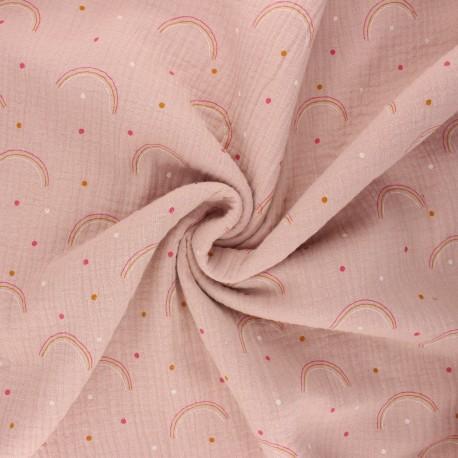Double gauze fabric - rose water Arco iris x 10cm