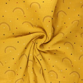 Double gauze fabric - yellow mustard Arco iris x 10cm