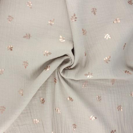 Double cotton gauze fabric - grege Feuille dorée x 10cm