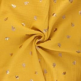 Double cotton gauze fabric - mustard yellow Feuille dorée x 10cm