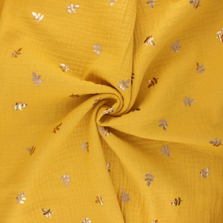 Double cotton gauze fabric - mustard yellow Feuille dorée x 10cm
