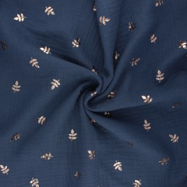 Double cotton gauze fabric - slate blue Feuille dorée x 10cm