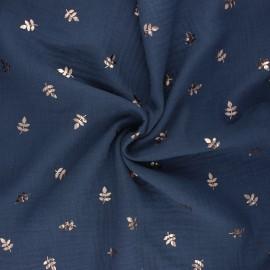 Double cotton gauze fabric - slate blue Feuille dorée x 10cm