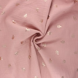 Double cotton gauze fabric - old pink Feuille dorée x 10cm