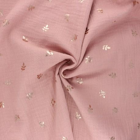 Double cotton gauze fabric - old pink Feuille dorée x 10cm
