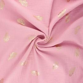 Tissu double gaze de coton Poppy Feathers - rose x 10cm