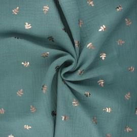 Double cotton gauze fabric - eucalyptus Feuille dorée x 10cm