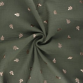Double cotton gauze fabric - khaki Feuille dorée x 10cm
