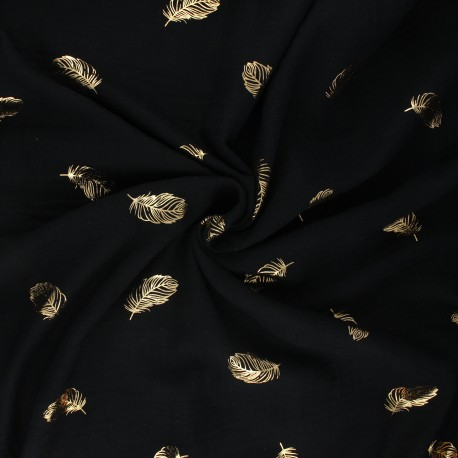 Poppy double gauze fabric - black Feathers x 10cm