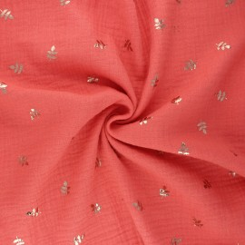 Tissu double gaze de coton Feuille dorée - corail x 10cm