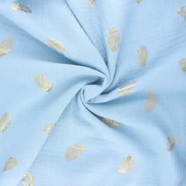Tissu double gaze de coton Poppy Feathers - bleu ciel x 10cm