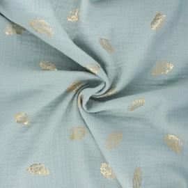 Tissu double gaze de coton Poppy Feathers - opaline x 10cm