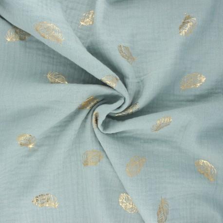 Poppy double gauze fabric - opaline Feathers x 10cm