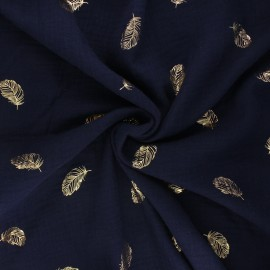 Poppy double gauze fabric - navy blue Feathers x 10cm