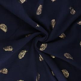 Tissu double gaze de coton Poppy Feathers - bleu marine x 10cm