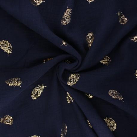 Poppy double gauze fabric - navy blue Feathers x 10cm