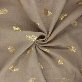 Poppy double gauze fabric - taupe Feathers x 10cm