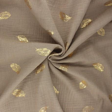 Poppy double gauze fabric - taupe Feathers x 10cm