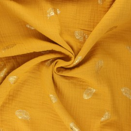 Poppy double gauze fabric - mustard yellow Feathers x 10cm