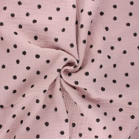 Double cotton gauze fabric - water pink Stampy x 10cm