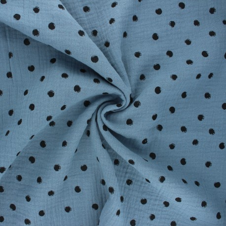 Double cotton gauze fabric - swell blue Stampy x 10cm