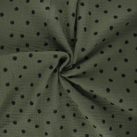 Double cotton gauze fabric - khaki Stampy x 10cm
