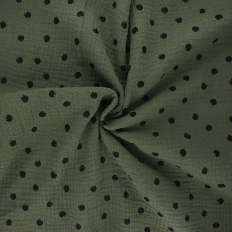 Double cotton gauze fabric - khaki Stampy x 10cm