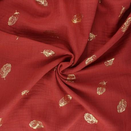 Tissu double gaze de coton Poppy Feathers - brique x 10cm