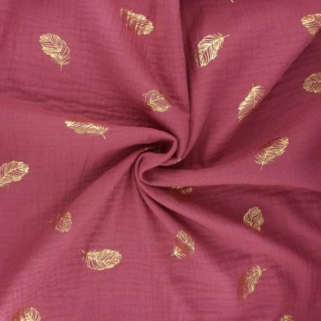 Poppy double gauze fabric - fig Feathers x 10cm