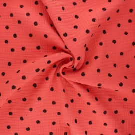 Double cotton gauze fabric - coral Stampy x 10cm