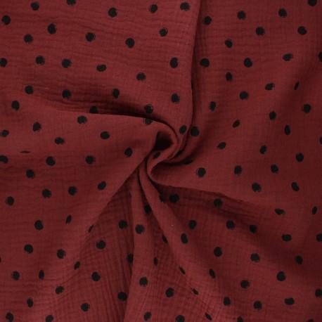 Double cotton gauze fabric - red brick Stampy x 10cm