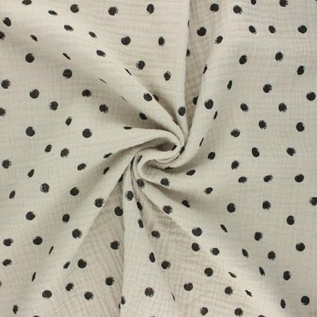 Double cotton gauze fabric - grege Stampy x 10cm