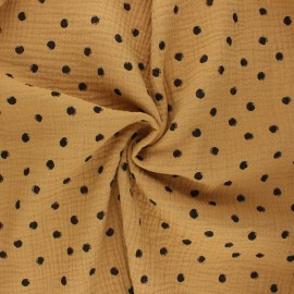 Double cotton gauze fabric - camel Stampy x 10cm