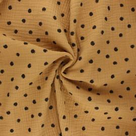 Tissu double gaze de coton Stampy - camel x 10cm