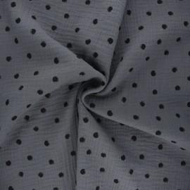 Tissu double gaze de coton Stampy - gris x 10cm