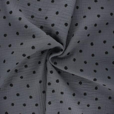 Double cotton gauze fabric - grey Stampy x 10cm