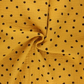 Double cotton gauze fabric - mustard yellow Stampy x 10cm