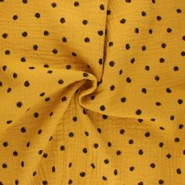 Tissu double gaze de coton Stampy - jaune moutarde x 10cm