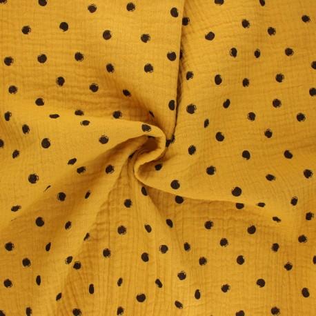 Double cotton gauze fabric - mustard yellow Stampy x 10cm