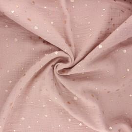Tissu double gaze de coton Terrazzo - eau de rose x 10cm