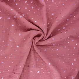 Double gauze fabric - rose wood Terrazzo x 10cm