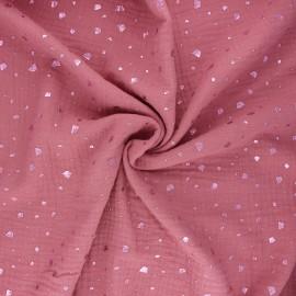 Tissu double gaze de coton Terrazzo - bois de rose x 10cm