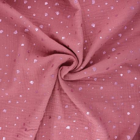 Double gauze fabric - rose wood Terrazzo x 10cm