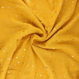 Tissu double gaze de coton Terrazzo - jaune moutarde x 10cm