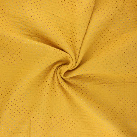 Double cotton gauze fabric - mustard yellow Mini rainbow dot x 10cm