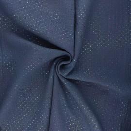 Tissu double gaze de coton Mini rainbow dot - bleu ardoise x 10cm