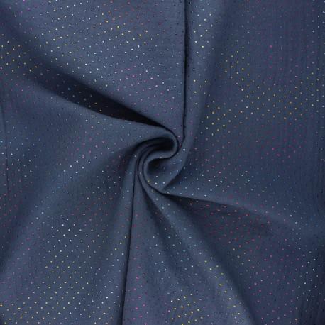 Double cotton gauze fabric - slate blue Mini rainbow dot x 10cm