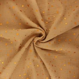 Tissu double gaze de coton Terrazzo - camel x 10cm