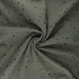 Tissu double gaze de coton Terrazzo - kaki x 10cm
